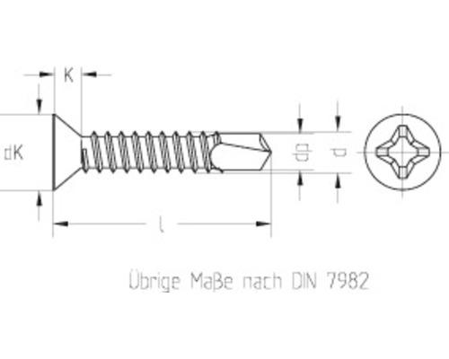 Holsuruburi autoforante cu cap inecat cruce Dresselhaus 3,5x19 mm DIN7504 otel zincat, 1000 bucati