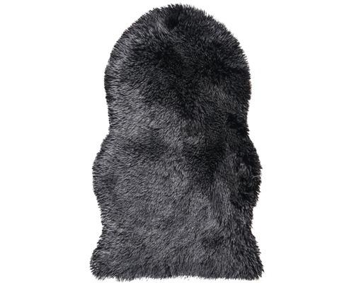 Covor blană artificială neagră 55x80 cm