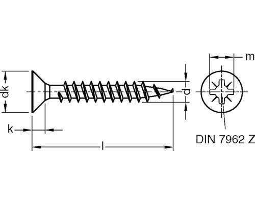 Holsuruburi universale cu cap inecat cruce Dresselhaus 3x30 mm otel zincat galben, 1000 bucati