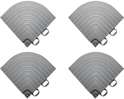 Element de colt pentru pavaj click 6,2x6,2 cm 4 bucati, alb aluminiu