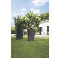 Ghiveci tip vaza Lechuza Cubico Cottage plastic 40x40x75 cm, gri
