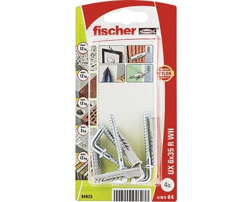 Dibluri plastic cu cârlig Fischer UX 6x35 mm, pachet 4 bucăți