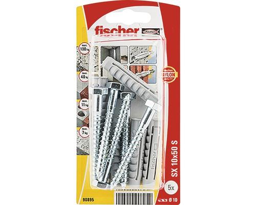 Dibluri plastic cu șurub Fischer SX 10x50 mm, 5 bucăți