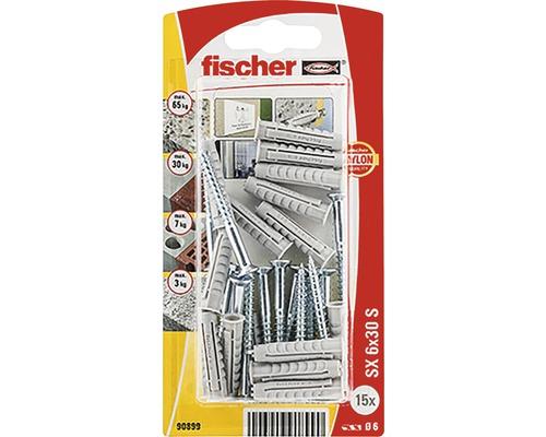 Dibluri plastic cu surub Fischer SX 6x30 mm, 15 bucati, filet partial