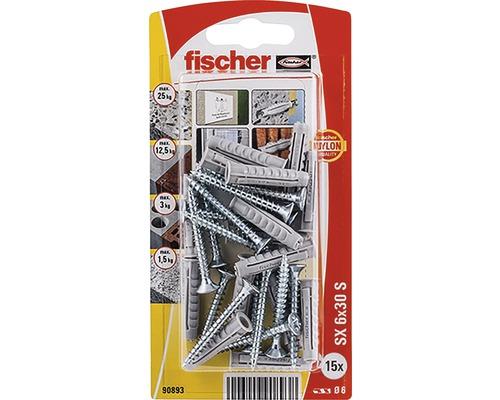 Dibluri plastic cu surub Fischer SX 6x30 mm, 15 bucati, filet complet