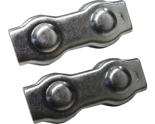 Cleme duble Mamutec 4-6 mm pentru fixat cabluri metalice, pachet 2 bucati