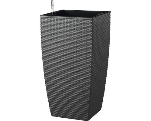 Ghiveci tip vaza Lafiora, material plastic, 36x36x66 cm, antracit, inclusiv set de udare a pamantului si indicator al nivelului de apa