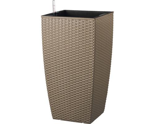 Ghiveci tip vaza Lafiora, material plastic, 36x36x66 cm, maro, inclusiv set de udare a pamantului si indicator al nivelului de apa