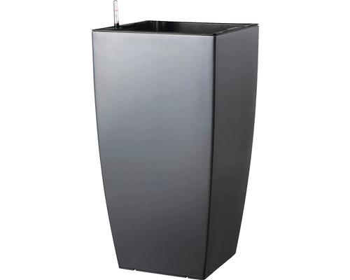 Ghiveci tip vaza, Lafiora, plastic, 36x36x66 cm, antracit mat, inclus set de udare a pamantului si indicator al nivelului de apa