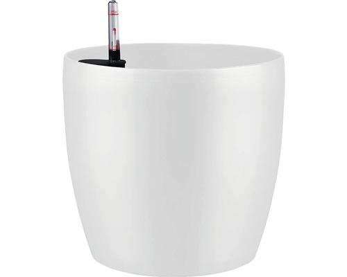 Ghiveci Lafiora, plastic, Ø 35 cm, alb lucios, inclus set de udare a pamantului si indicator al nivelului de apa