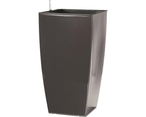 Ghiveci tip vaza, Lafiora, plastic, 36x36x66 cm, antracit lucios, inclus set de udare a pamantului si indicator al nivelului de apa