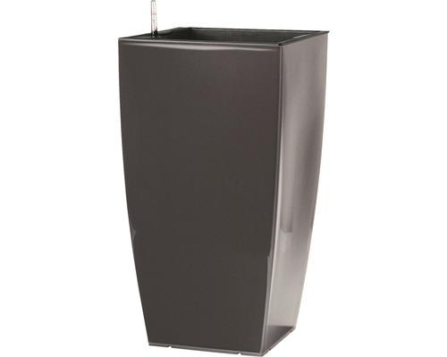 Ghiveci tip vaza, Lafiora, plastic, 31x31x57 cm, antracit lucios, inclus set de udare a pamantului si indicator al nivelului de apa