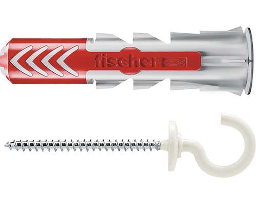 Dibluri plastic cu carlig rotund alb Fischer DuoPower 6x30 mm, 6 bucati