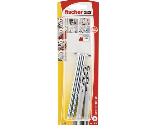 Dibluri plastic cu carlig Fischer SXR 10x100 mm, pachet 2 bucati