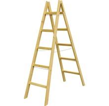 Scară dublă din lemn Alverosal 2x5 trepte max. 100kg