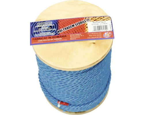 Sfoara polipropilena rasucita Coretech Ø5mm x 100m, culoare albastra