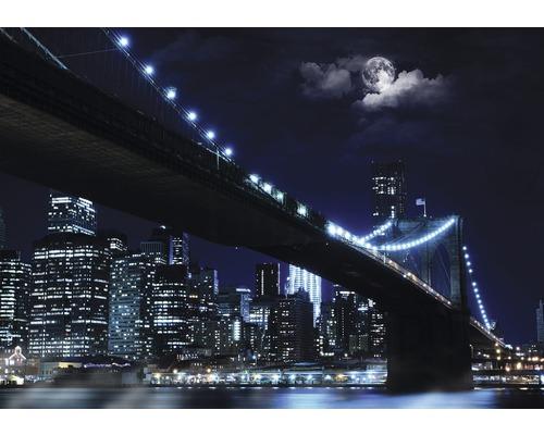 Fototapet hartie Brooklyn Bridge albastru negru 254x184 cm