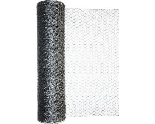 Plasa gard impletita, model hexagonal, zincata, 1 x 10 m, argintiu