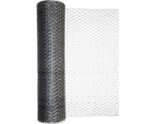 Plasa gard impletit, hexagonala, zincata, 1 x 25 m, argintiu