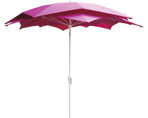 Umbrela Lotus cu manivela, Ø 270 cm, l 262 cm, poliester, 220 g/mp, roz