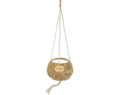 Ghiveci agatator Kokodama, cocos, Ø 12 h 7,5 cm maro