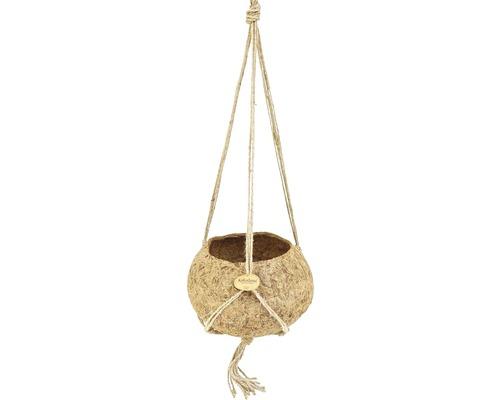 Ghiveci agatator Kokodama, cocos, Ø 25 h 13 cm, bej