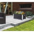 Jardiniera cu roti si colturi metalice, 60x40x37 cm, antracit