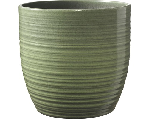 Ghiveci Bergamo, Ø 16 cm, verde lacuit