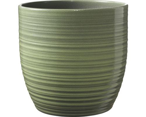 Ghiveci Bergamo, Ø 13 cm, verde lacuit