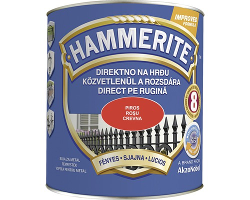 Email pentru metal Hammerite lucios, rosu 2,5 l