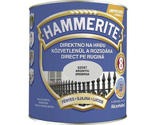 Email pentru metal Hammerite lucios, argintiu 2,5 l