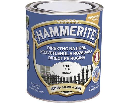 Email pentru metal Hammerite lucios, alb 0,75 l