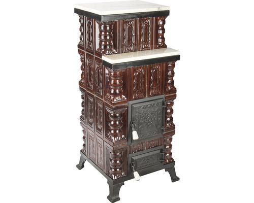 Sobă mobilă din teracotă, pe lemne, polițe din marmură, 7 kW, 108x47x47 cm
