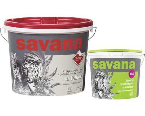 Vopsea superlavabila alba pentru interior Savana cu Teflon 15 l + amorsa 5 l