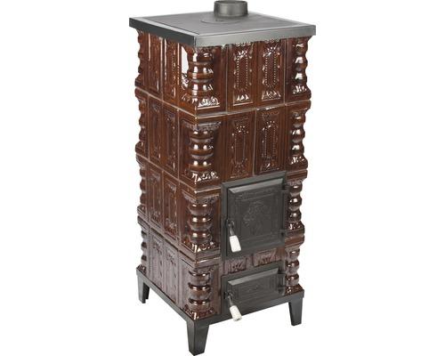 Sobă mobilă din teracotă, pe lemne, cu plită, 6,4 kW, 106x77x61 cm