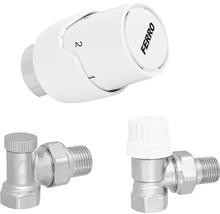 "Set robineți radiator colțar (tur-retur) Ferro cu cap termostatic 1/2"""