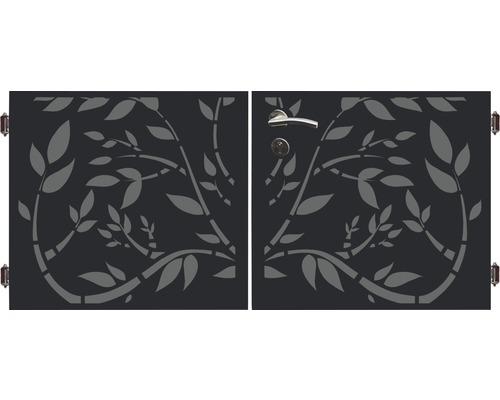 Poarta dubla 180 x 90 cm, Floral, antracit