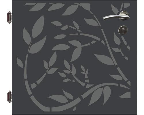 Poarta simpla, 90 x 90 cm, Floral, deschidere stanga, antracit