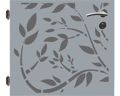 Poarta simpla, 90 x 90 cm, Floral, deschidere stanga, gri
