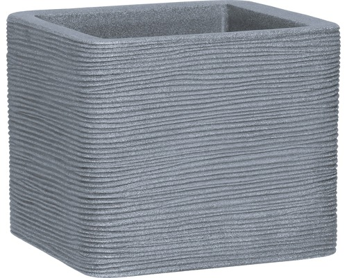 Ghiveci striat geli, plastic, 40x40x32,5 cm, gri