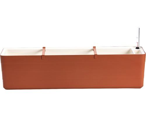 Jardiniera Lafiora cu sistem de irigare, 80x19,5x20 cm, maro