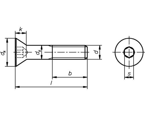 Suruburi metrice cu cap inecat si hexagon interior Dresselhaus 8x20 mm DIN7991 otel zincat, 100 bucati