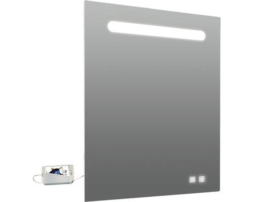 Oglindă baie cu iluminare LED Lina, 60x80 cm, cu antiaburire și dublu USB, IP 44