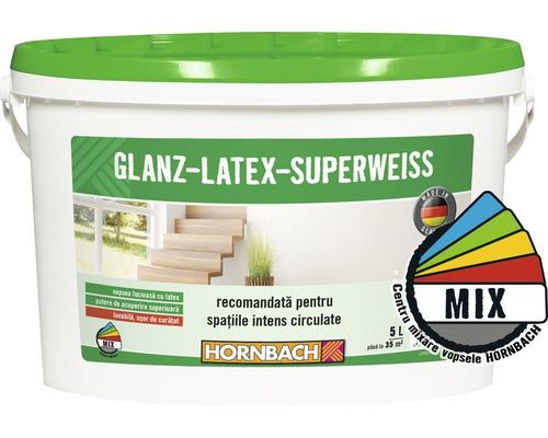 Vopsea pe baza de latex Glanzlatex Superweiss (baza C) in nuanta doita 5 l