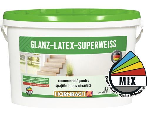 Vopsea pe baza de latex Glanzlatex Superweiss (baza A) in nuanta doita 5 l
