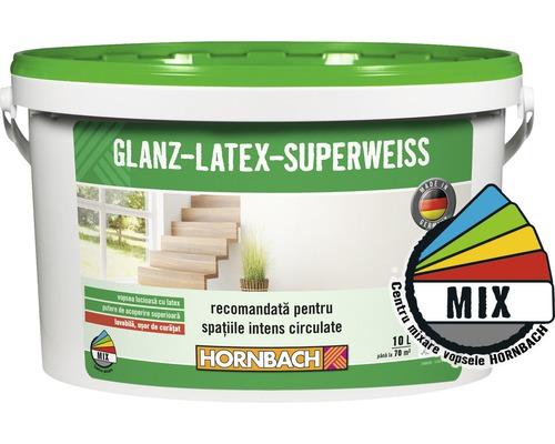 Vopsea pe baza de latex Glanzlatex Superweiss (baza A) in nuanta doita 10 l