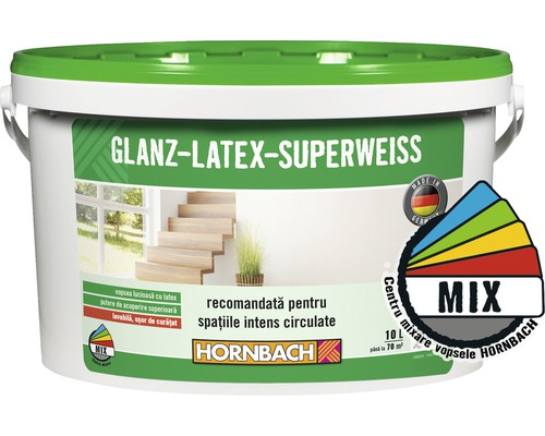 Vopsea pe baza de latex Glanzlatex Superweiss (baza C) in nuanta doita 10 l