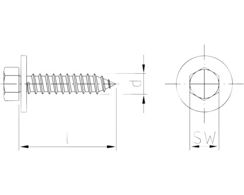 Holsuruburi cu cap hexagonal si saiba Dresselhaus 4,8x16 mm DIN6901 otel zincat, 100 bucati, pentru tabla