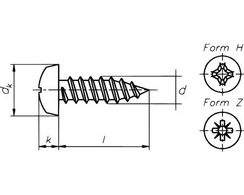Holsuruburi cu cap bombat cruce Dresselhaus 3,5x13 mm DIN7981 otel zincat, 100 bucati, pentru tabla