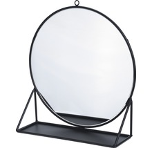 Oglindă cu suport Happy negru Ø 30 cm